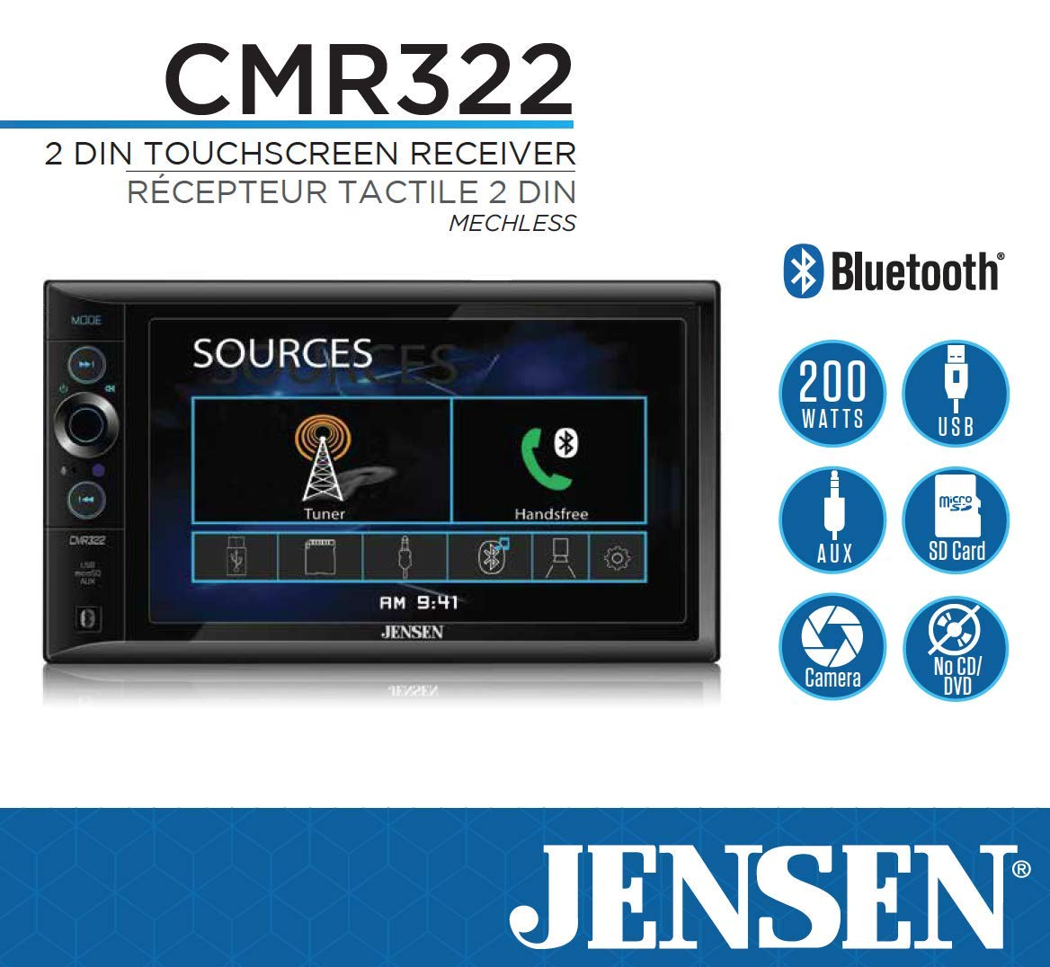 JENSEN CMR322 Double DIN Car Stereo Digital Receiver with 6.2-inch LED Backlit LCD Multimedia Touch Screen Built-In Bluetooth//MP3 /& FLAC//USB /& microSD