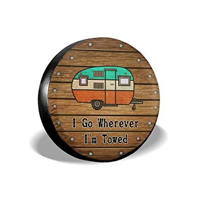 Ouqiuwa Spare Tire Cover I Go Wherever I'm Towed Wood Universal Wheel Covers for Jeep Trailer RV SUV Truck 14 Inch: Automotive