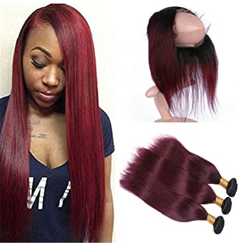 Tony Beauty Hair Straight 1B 99J Wine Red Ombre 3Bundles with 360 Lace  Frontal closure 7fbf2079d