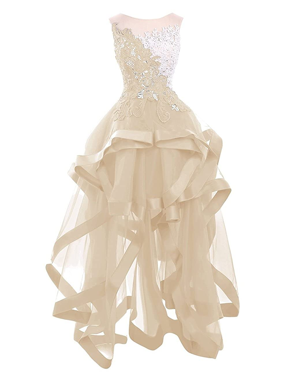 Style1champagne ZVOCY Women's Tulle Homecoming Dresses Appliques Beads Short Prom Cocktail Party Dress
