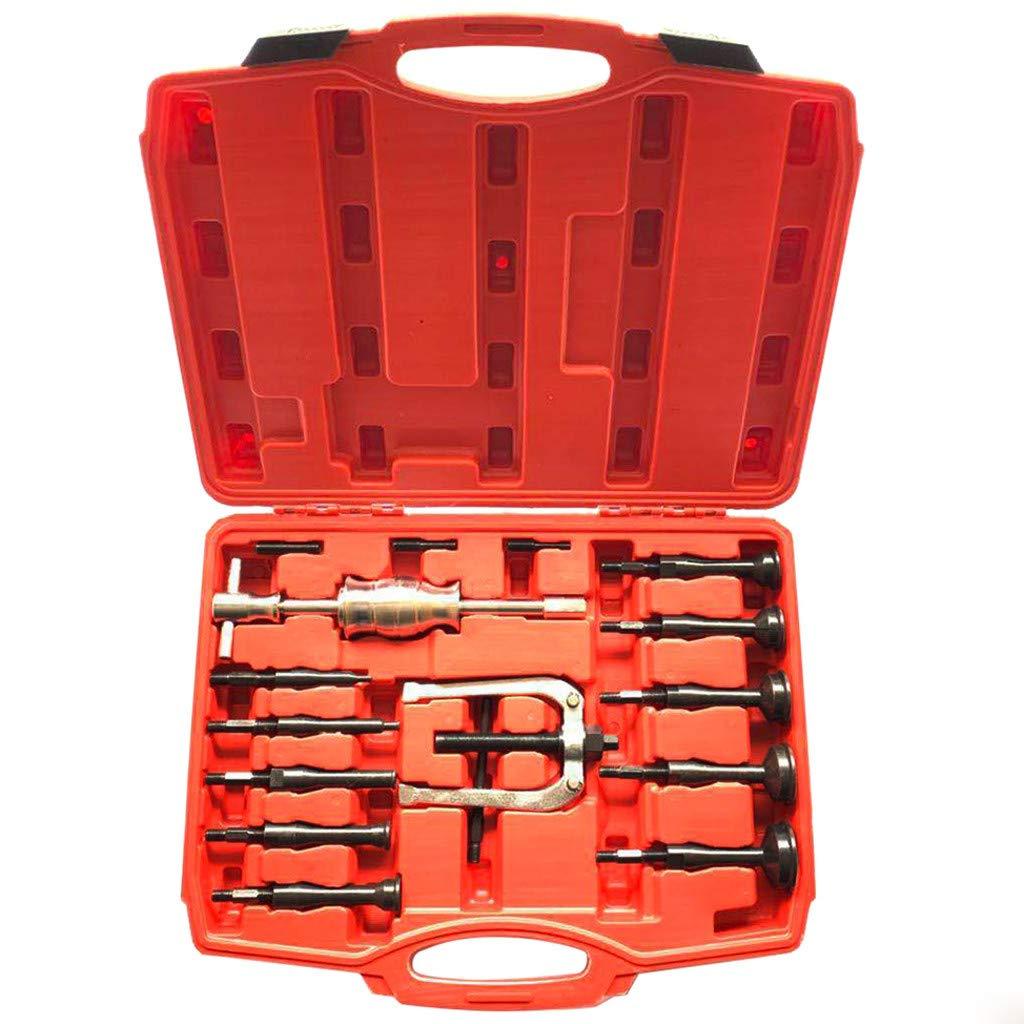 Hunzed 16PCS Blind Hole Inner Bearing Puller Remover Extractor Set Slide Hammer Tool Kit with Case (Black)