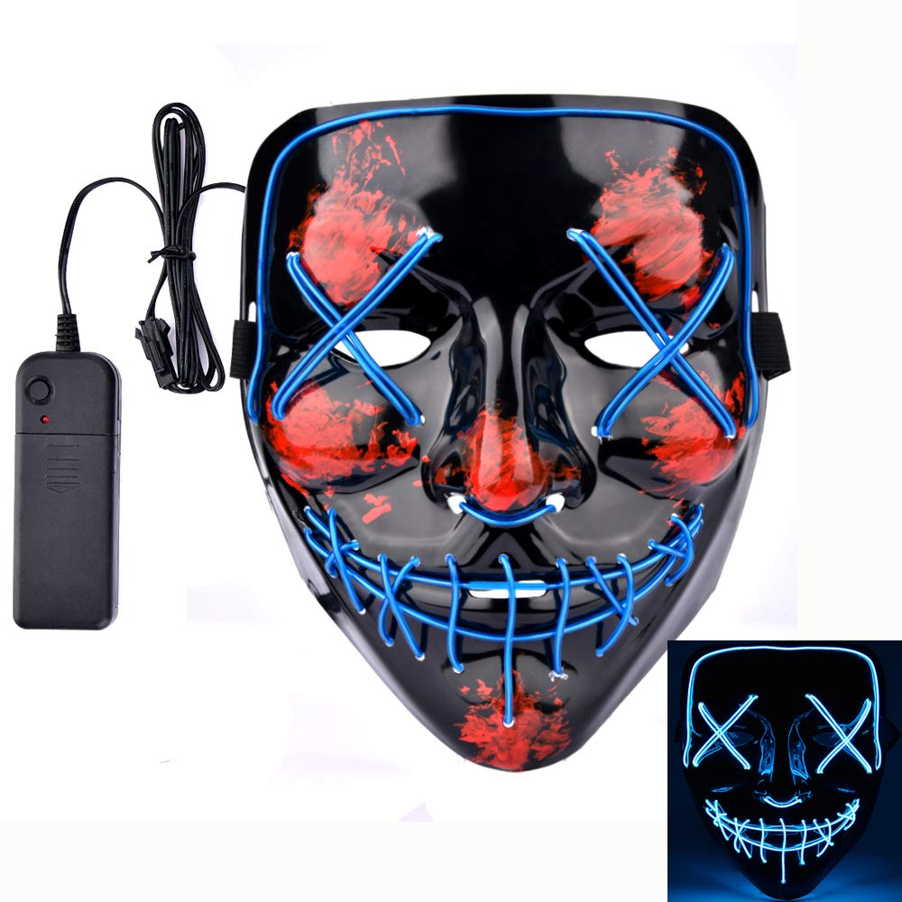 AFDEAL Halloween Mask LED Light up Purge Mask for Festival Party Frightening Wire Cosplay Costume (Blue)