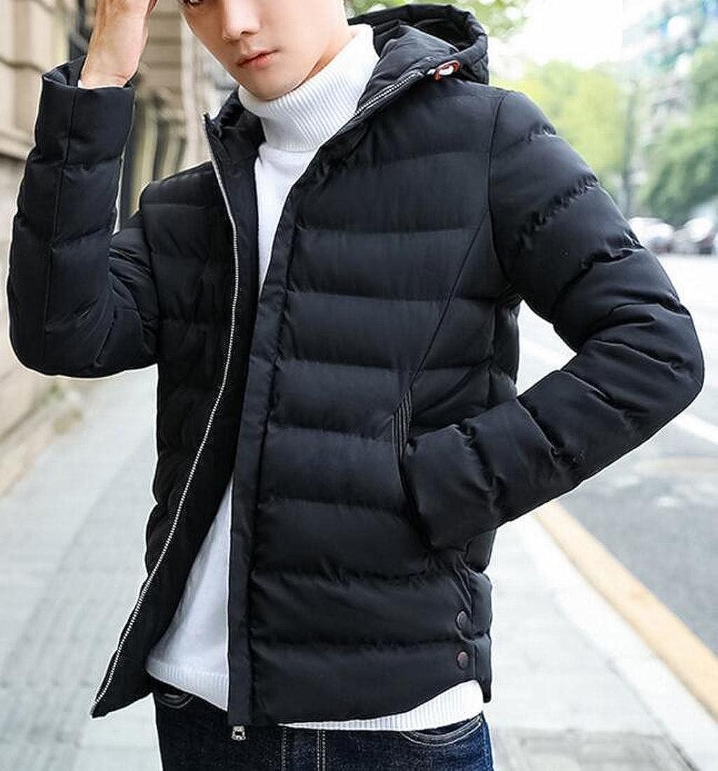 xiaohuoban Mens Loose Long Sleeve Hoodies Puffer Down Coats
