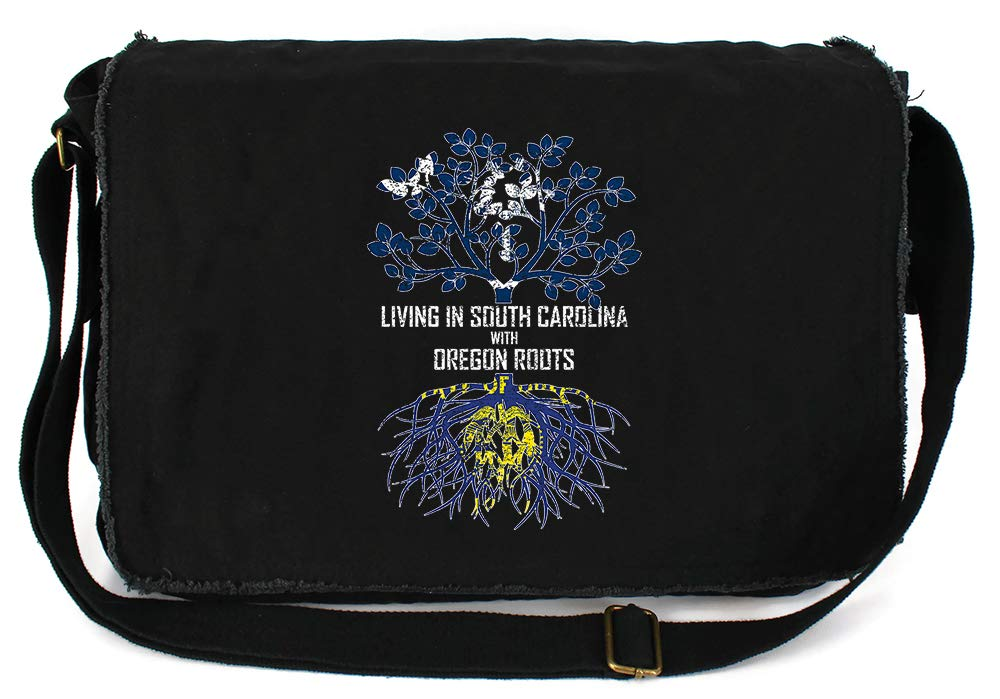 Tenacitee Living In South Carolina with Oregon Roots Grey Brushed Canvas Messenger Bag