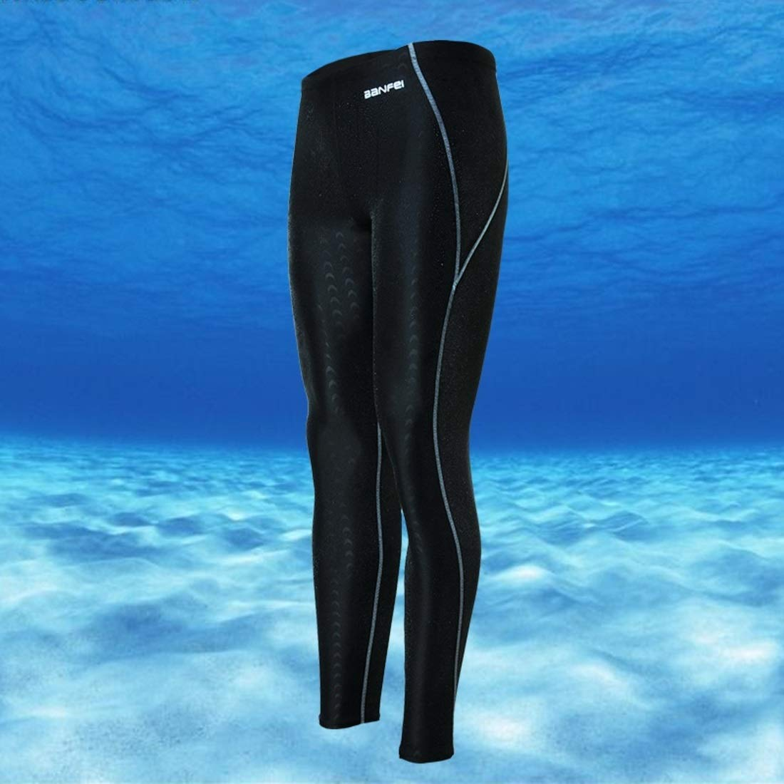 Color : Black Gray line, Size : L Souliyan Waterproof and Quick-Drying Sunscreen Shark Skin Long Legs Competition Mens Long Swimming Trunks Nine Points Diving Surf Clothing
