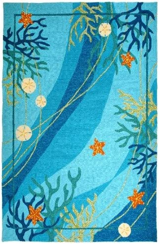 Homefires Underwater Coral and Starfish 26-Inch by 60-Inch Indoor Outdoor Hand Hooked Area Rug