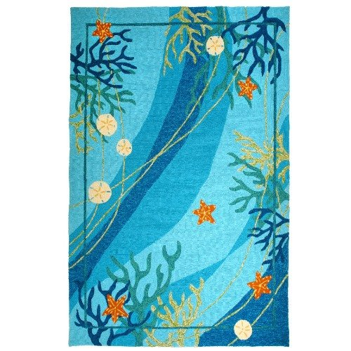 Homefires Underwater Coral and Starfish 22-Inch by 34-Inch Indoor Outdoor Hand Hooked Area (Hooked Rectangle Rug)