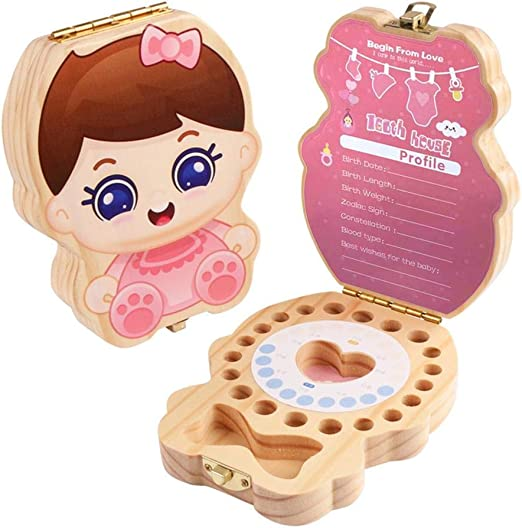 Caja de dientes de dibujos animados Impresión de los dientes Cajas de almacenamiento de memoria Organizador para niños niñas Caja de recuerdo de dientes de madera para bebés, Niños dientes de leche: