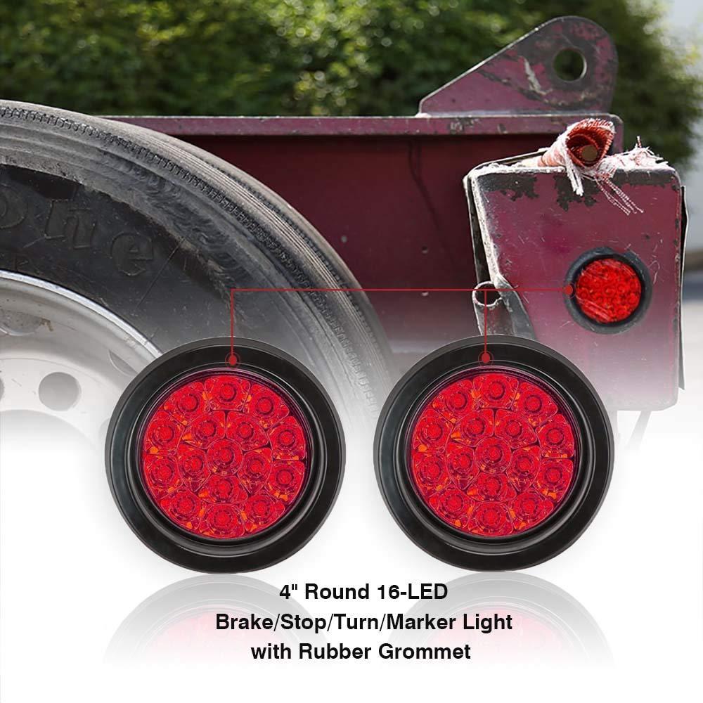 TOPPOWER 4'' Round led Trailer Lights with Rubber Grommet 12/24V RED 16LED Waterproof Brake/Stop/Turn Tail Marker Light/Lamp for RV Trucks Trailer(2 Pcs)