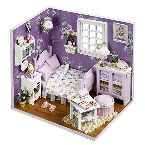 Spilay DIY Miniature Dollhouse Wooden Furniture Kit,Handmade Mini Home Model with Dust Cover & LED Light ,1:24 Scale Creative Doll House Toys for Children Gift(Sweet Sunshine) H01