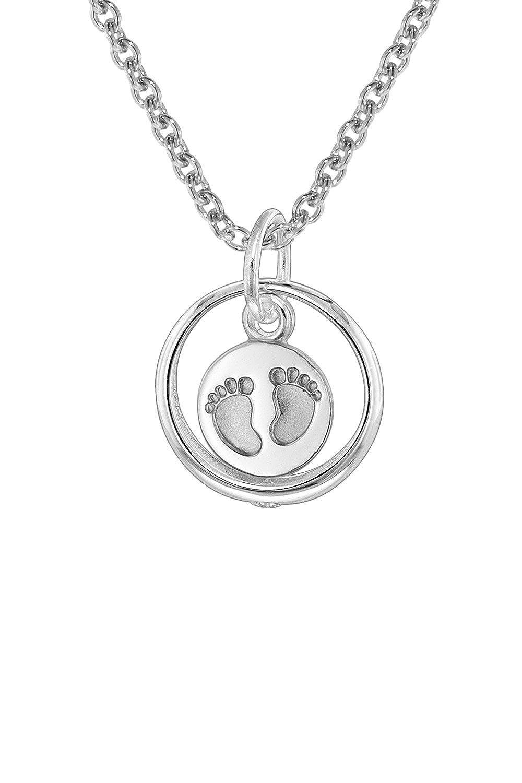 trendor Silber Taufring Anhänger Babyfüße mit Kinder-Halskette 08467