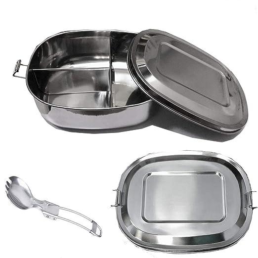 Unique Store Acero Inoxidable Fiambrera 1000ML, Contenedores de Alimentos, Apta para lavavajillas Bento de Comida Caja de Almuerzo para con Tres ...