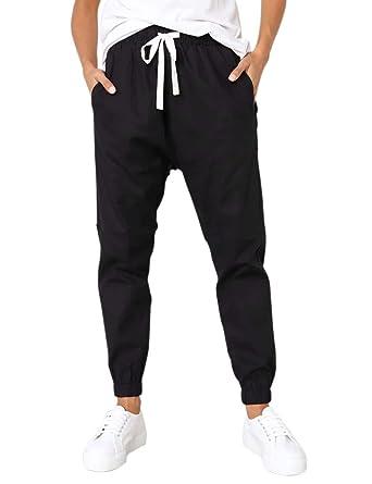 Chic Pantalons Femme Taille et Bas élastiques Pantalon de Cargo Jambes 7 8  Sportif et 6c09e652fb7