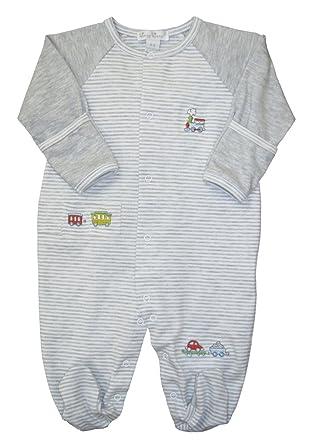 99629b33bae Amazon.com  Kissy Kissy Baby-Boys Infant Red Caboose Stripe Footie-Gray- Newborn  Clothing
