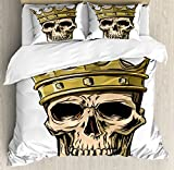 Ambesonne King Duvet Cover Set Queen Size, Dead Skull Skeleton Head with Royal Holy Crown Tiara Hand Drawn Image, Decorative 3 Piece Bedding Set with 2 Pillow Shams, Golden and Light Brown