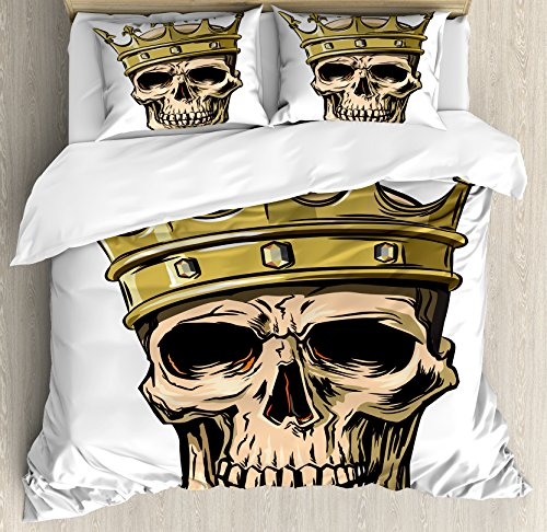 Ambesonne King Duvet Cover Set Queen Size, Dead Skull Skeleton Head with Royal Holy Crown Tiara Hand Drawn Image, Decorative 3 Piece Bedding Set with 2 Pillow Shams, Golden and Light Brown by Ambesonne