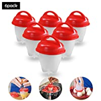 Pawaca Egg Cooker, Egg Cooking Hard and Soft Maker,Non Stick Silicone,BPA Free,Hard Boiled Eggs without Shell As Seen On TV(6 Pack)
