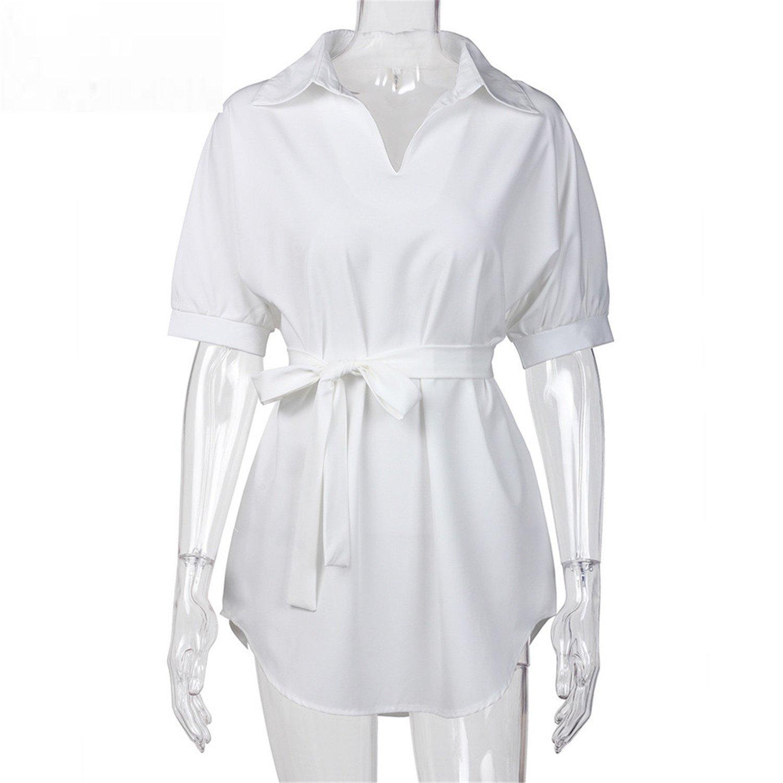 df2545ce406 Baqijian Shirt Dress Women Summer Short Sleeve Chiffon Casual Dresses  Ladies Plus Size Dress with Bow Belt Muje White S at Amazon Women s Clothing  store