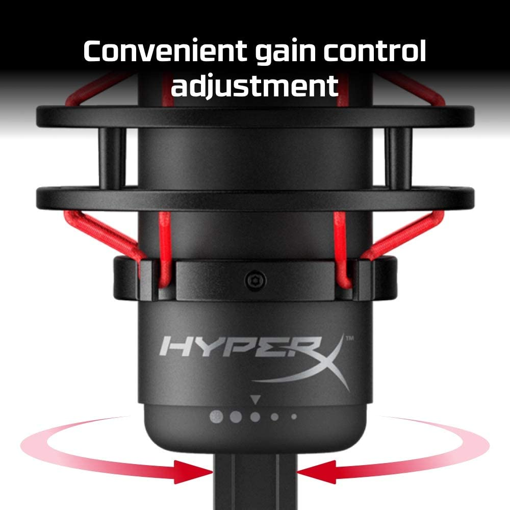 HyperX QuadCast - USB Condenser Gaming Microphone, for PC, PS4 and Mac, Anti-Vibration Shock Mount, Four Polar patterns, Pop Filter, Gain Control, Podcasts, Twitch, YouTube, Discord, Red LED - Black: Computers & Accessories