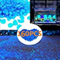 ZWDD 160pcs Glow in The Dark Garden Pebbles,Glow Stones Rocks Garden Decorative Stones Glowing Rocks for Outdoor Decor Walkways Aquarium Fish Tank Path Lawn Yard Walkway (Blue)