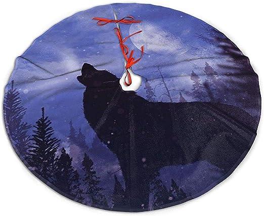 Myrdora Falda del árbol de Navidad Lobo Aullando Alpha Night ...