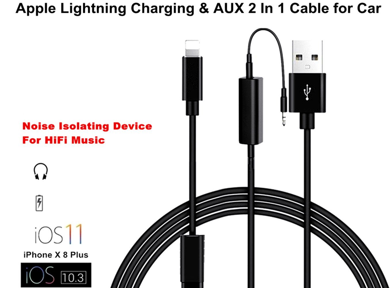 Iphone X 10 8 Bmw Aux Adapter Apple Lightning To 35mm Usb Charger Wiring Diagram Jack And Lead Y Cable For 7 Plus Car Stereos Audi Music