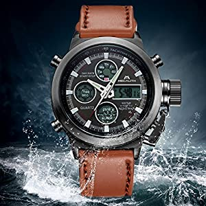 fff7c23bb3 Mens Sports Watches Men Military Waterproof Big Face Analogue Digital Wrist  Watch with Brown Genuine Leather Band