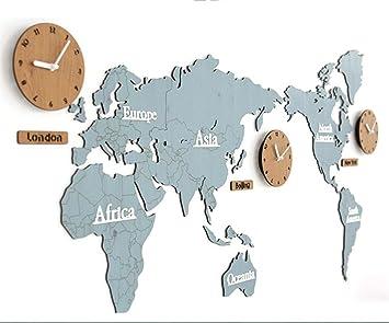 Qqa Horloge Murale Acrylique Autocollants De Carte Du Monde
