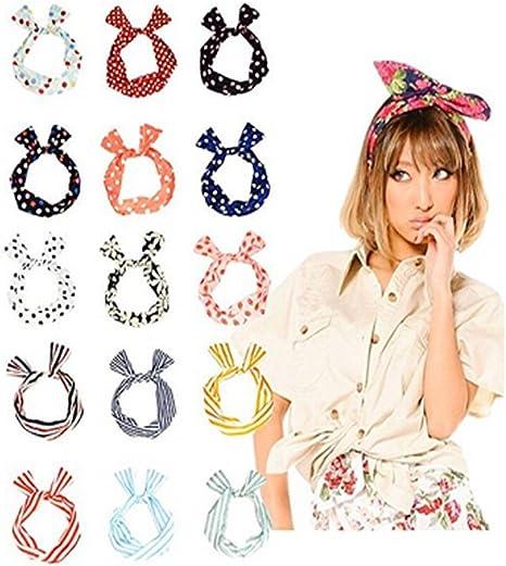varios colores diadema de varios estilos 10 cintas para la cabeza con alambre multifunci/ón con dise/ño de orejas de conejo accesorios para el pelo para ni/ñas y mujeres