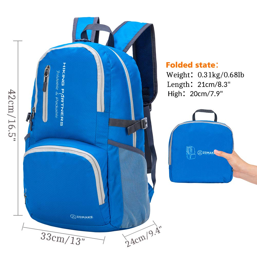 Packable Water Resistant Hiking Daypack Foldable Backpack for Women Men ZOMAKE Lightweight Travel Backpack