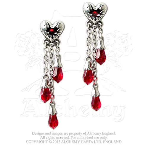 Para mujer Fashion joyas Dangle Pendientes gótico Romance amor Hurts sangrado corazón rojo cristales