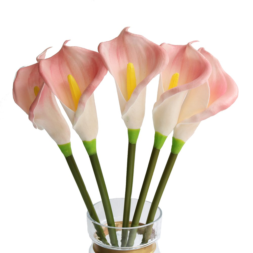 Htmeing 5pcs Long Branch Fake Calla Lily Latex Real Touch Artificial Flowers Arrangement for Home Office (Orange)