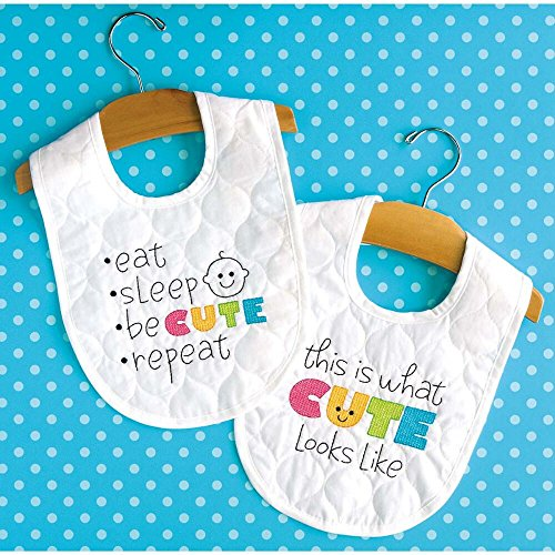 (Dimensions Stamped Cross Stitch Kit 'Cute' DIY White Baby Bibs, 2 pc., 9