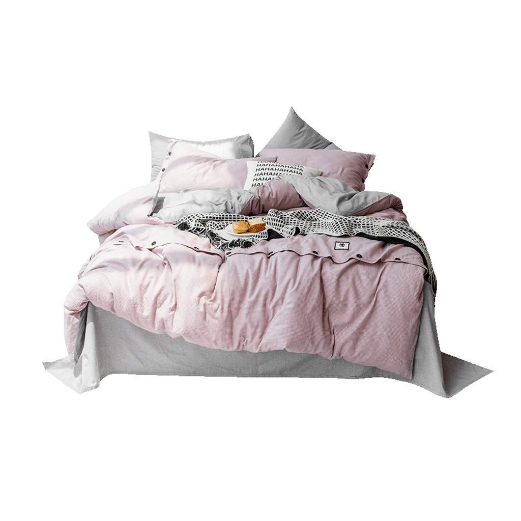 Fmn Bettwäsche 100% Reiner Baumwolle 4 Stück komplettes Bett Set enthält X1 Bettbezug X2 Kissenbezüge und X1 Spannbetttuch Pink und Gary (größe   2.0m (Quilt Cover 220cmX240cm))