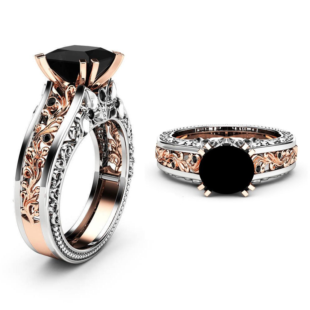 HUAMING Fashion Women Color Separation Rose Gold Ring Jewelry Black Rhinestone Wedding Engagement Floral Ring Simple Gold Ring (Multicolor, 5)