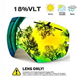 JULI OTG Ski Goggles - Snowmobile Snowboard Skate Goggles with Anti-fog Spherical Double Professional Multicolor Detachable Lens for Men