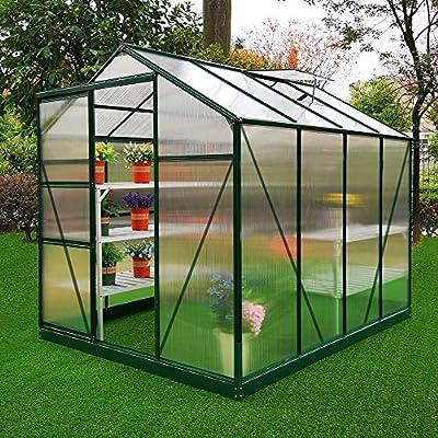 MonsterShop Invernadero de Jardín Policarbonato Transparente Aluminio Plantas Cultivos Hortalizas Vivero con Base y 10 W Clips Gratis 1.8m x 2.4m: Amazon.es: Jardín