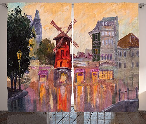 Ambesonne European Cityscape Decor Collection, Painting of Moulin Rouge in Paris City Centre of Love Vintage France Artprint Home, Living Room Bedroom Curtain 2 Panels Set, 108 X 84 Inches, Multi
