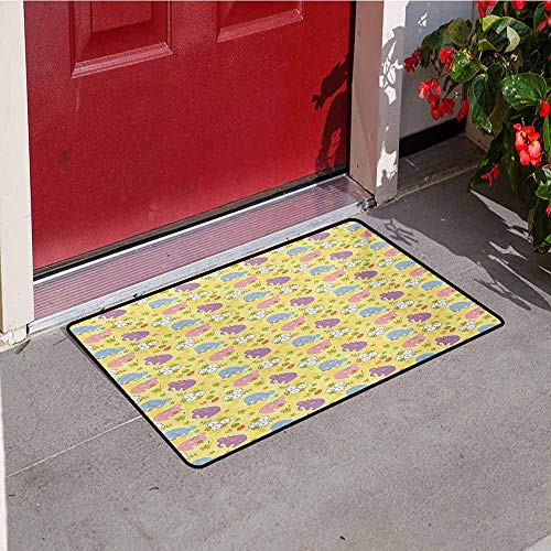 Jinguizi Elephant Commercial Grade Entrance mat Blossoming Cartoon Flowers and Animal Mascots Balloons Bow Ties Playful Clip Art for entrances garages patios W47.2 x L60 Inch Multicolor