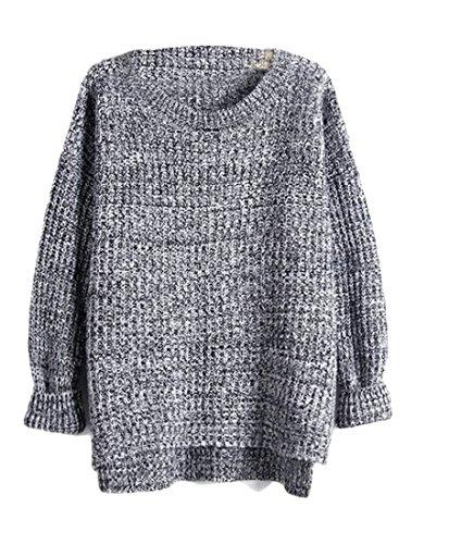 WSPLYSPJY Women's Crew Neck Ribbed Trim Drop Shoulder Knit Basic Sweater Grey OS