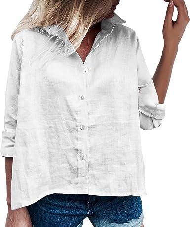 LEEDY Camisa de Manga Larga para Mujer, Blusa Sexy, Color sólido, Cuello Alto, botón, Camisa de Manga Larga con Botones: Amazon.es: Ropa y accesorios