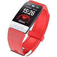 Cokthen Reloj Inteligente con Monitor de frecuencia cardíaca, presión Arterial ECG Q1S, Monitor de Actividad física para Dormir
