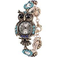 Pulsera Búho Relojes Retro Para Mujer - Exquisita Talla De Animales Rhinestone Decorado Brazalete Relojes Para Niñas