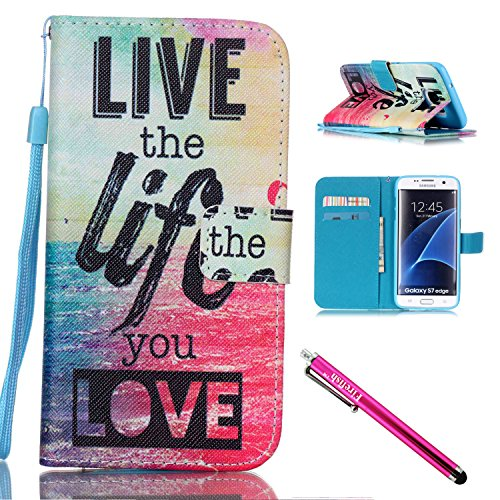 Price comparison product image Galaxy S7 edge Case, Firefish Stand Flip Folio Wallet Cover Shock Resistance Protective Shell with Cards Slots Magnetic Closure for Samsung Galaxy S7 edge-Life
