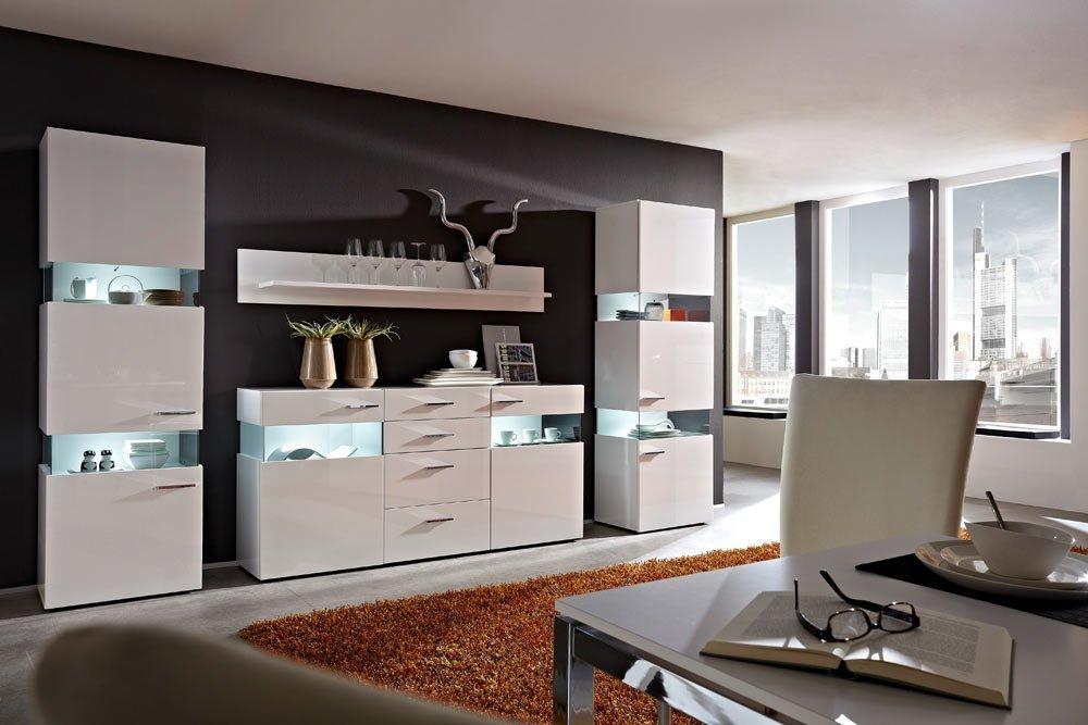 Wohnwand in weiß Hochglanz u. weiß glänzend mit 2 Vitrinen B: je 60 cm, 1 Wandboard B: 180 cm und 1 Sideboard B: 180 cm