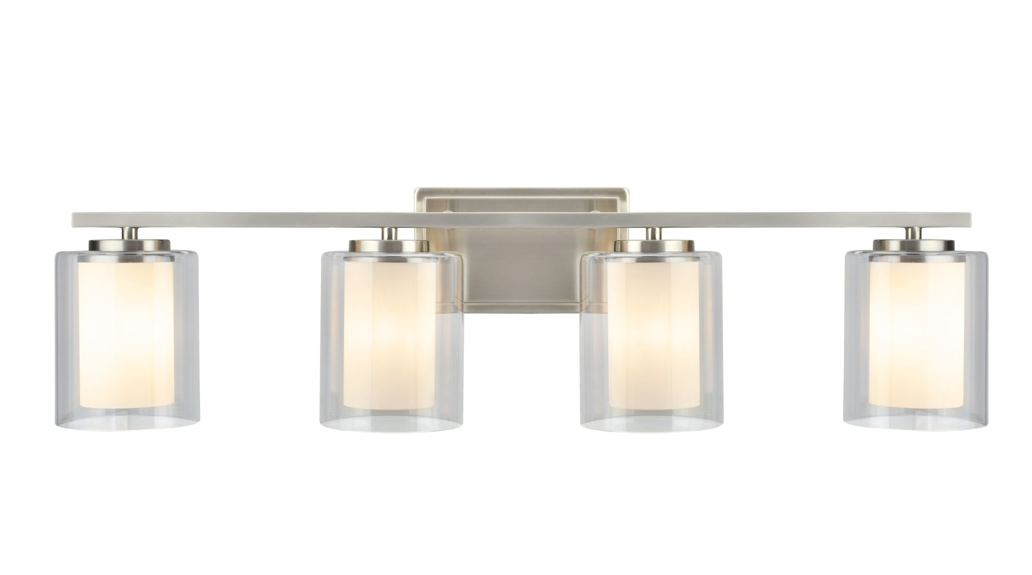 Aspen Creative 62104, Four-Light Metal Bathroom Vanity Wall Light Fixture, 32'' Wide, Transitional Design in Satin Nickel with Clear Glass Shade by Aspen Creative (Image #2)