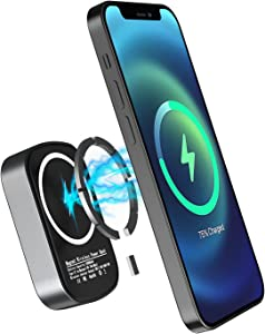 Small Magnetic Wireless Portable Power Bank, High Capacity 10000mAh 15W Fast Wireless Charging Charger with USB-C Cable, External Battery Pack Compatible for iPhone 12/12 Pro/12 Pro Max/12 Mini,Gray