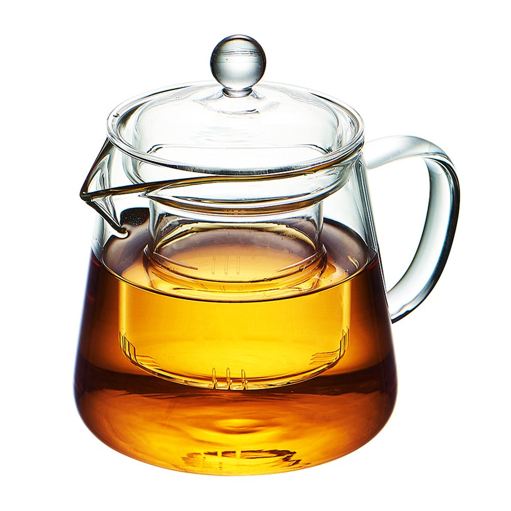 WarmCrystal, High Borosilicate Glass Teapot, Great for Loose Leaf Tea and Coffee Teakettle (17 oz)