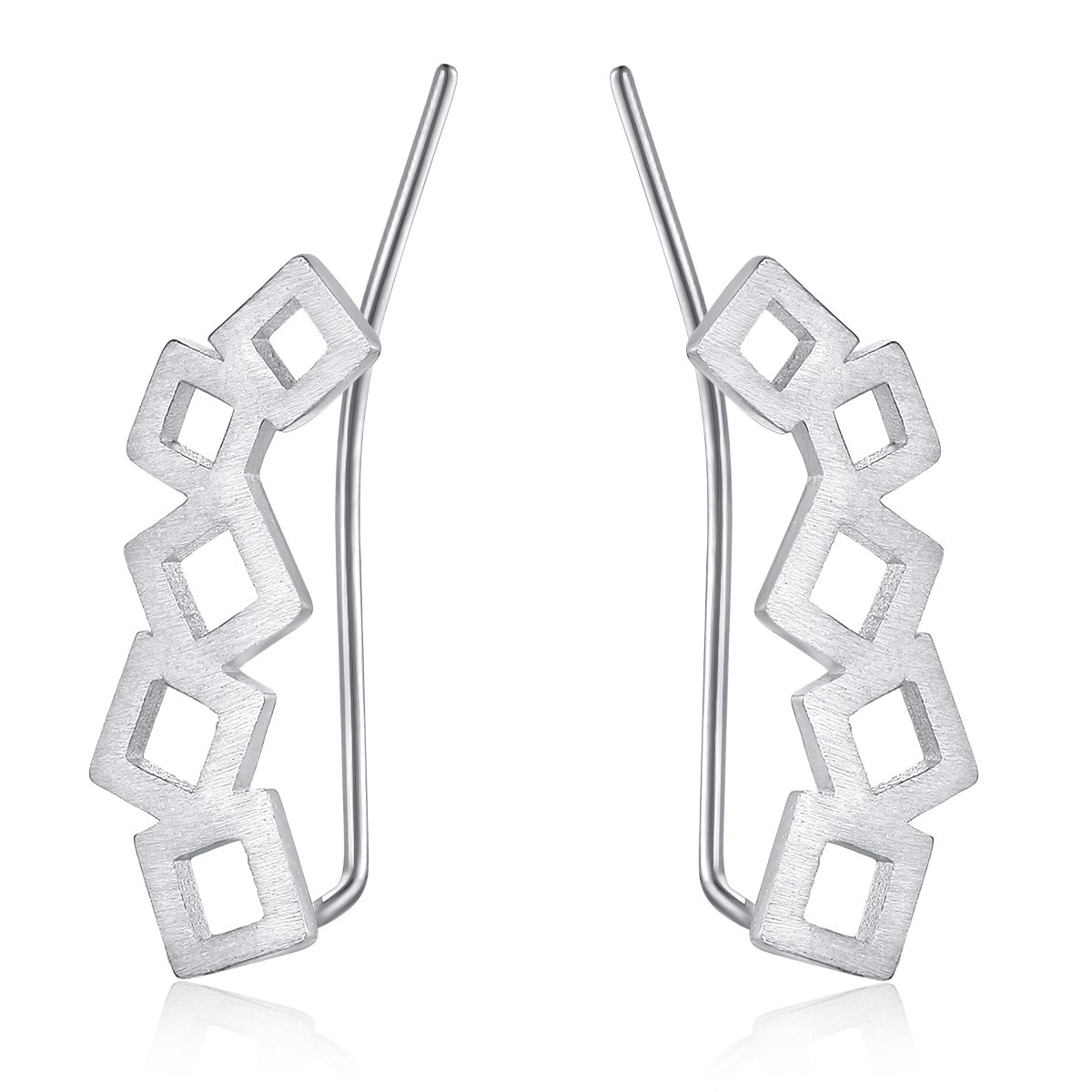 Solid Sterling Silver Ear Crawler Cuff Earrings Minimal Delicate chic simple Geometric Squares Ear Climber Earrings