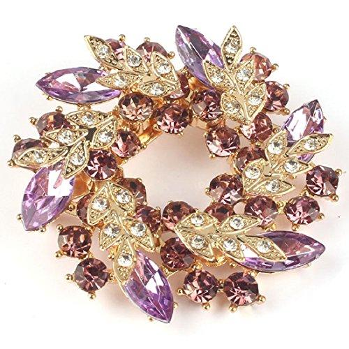 Doinshop New Useful Cute Nice Vogue Ladies Rhinestone Crystal Alloy Flower Bouquet Brooch Pin (purple)